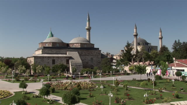 ms view of museum of rumi / konya, konya, central turkey, turkey - konya stock videos and b-roll footage