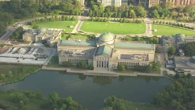 WS AERIAL POV View of Museum Of Science And Industry / Chicago, Illinois, United States