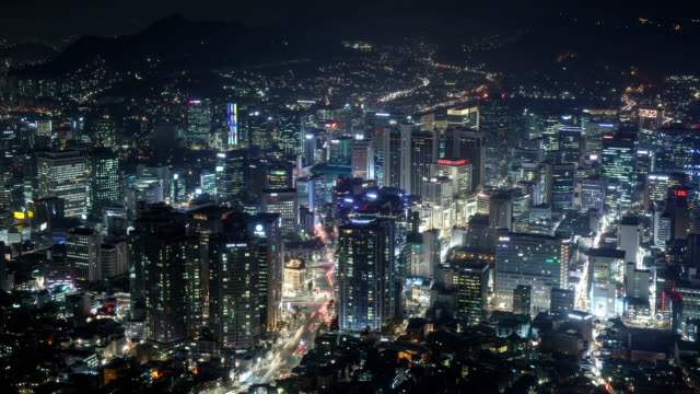 View of Myeongdong (Tourist most visited places and one of the primary shopping districts in Seoul) at night
