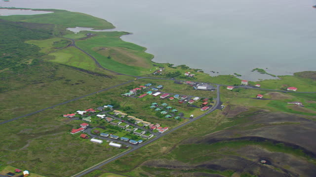 WS AERIAL View of Myvatn lake / Iceland
