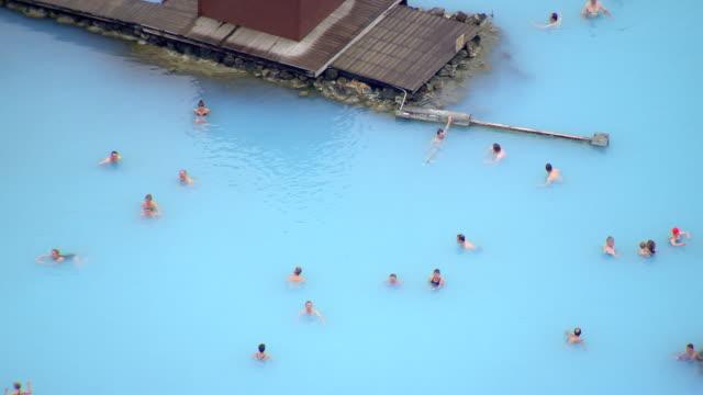 WS AERIAL View of Myvatn nature baths at Jardbodin Geothermal / Iceland