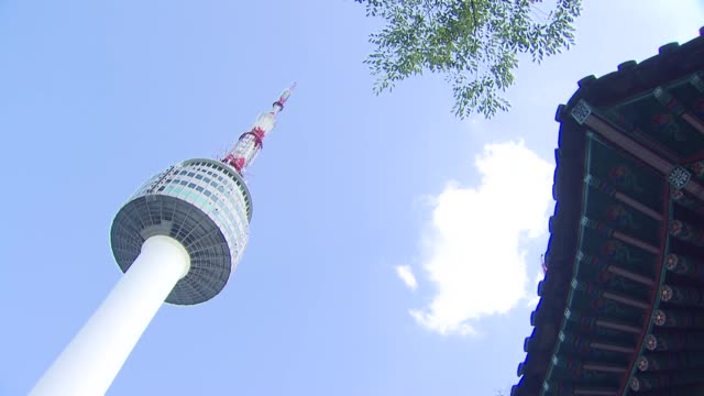 view of n seoul tower(famous tourist attractions) and eaves in namsan, seoul, south korea - eaves stock videos and b-roll footage