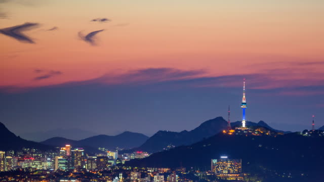 stockvideo's en b-roll-footage met view of n seoul tower (famous tourist destinations) at sunset - seoel