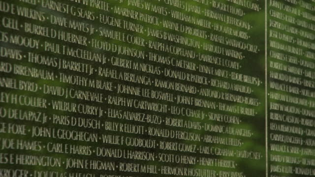cu pan view of names engraved on vietnam veterans memorial wall / washington, district of columbia, united states - vietnam veterans memorial video stock e b–roll