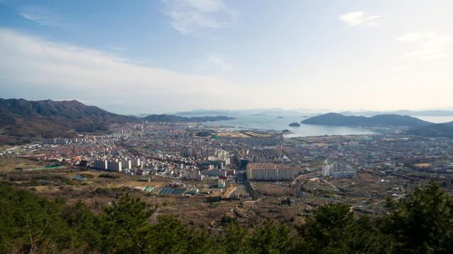 ws zo t/l view of namhaegun area and southern sea / namhaegun, gyeongsangnam-do, south korea  - antarctic ocean stock videos & royalty-free footage