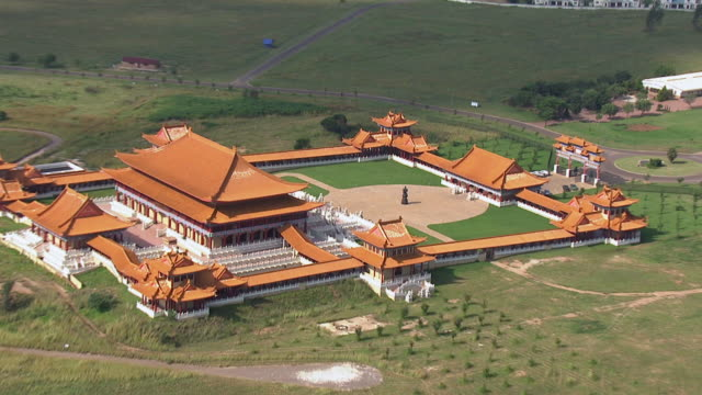 cu aerial zo view of nanhua buddhist temple / johannesburg, gauteng, south africa - history stock videos & royalty-free footage