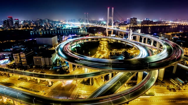 T/L WS HA PAN View of Nanpu Bridge at Night / Shanghai, China