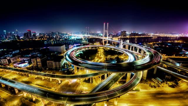 T/L WS HA View of Nanpu Bridge at Night / Shanghai, China
