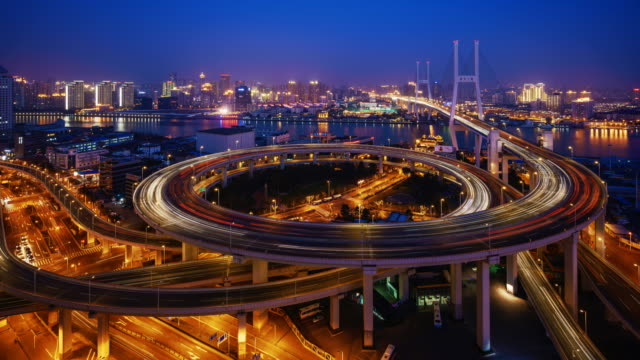 T/L WS ZI View of Nanpu Bridge at Night / Shanghai, China