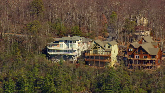 MS AERIAL ZO View of nantahala national forest and houses / North Carolina, United States