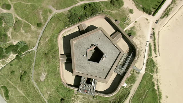 ms aerial ds zo view of napoleonic fort at ostend beach / flanders, belgium - fortress stock videos & royalty-free footage