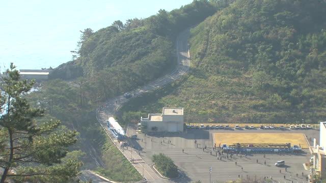 WS T/L View of Naro Korean Space Rocket moving to Launch pad / Goheunggun, Jeollanam-do, South Korea