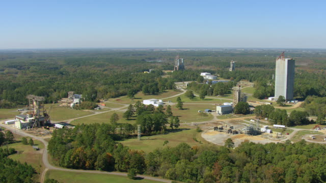 WS AERIAL View of NASA Marshall Space Flight Center Huntsville buildings with surrounding landscape / Huntsville, Alabama, United States