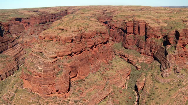 AERIAL WS SLO MO View of natural rock formations at national park  / Purnululu, Western Australia, Australia