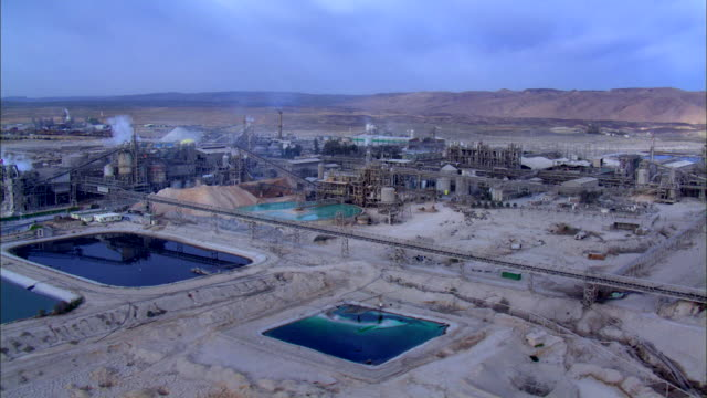 WS ZI AERIAL  DS View of negev industries with evaporation ponds / Negev, Israel