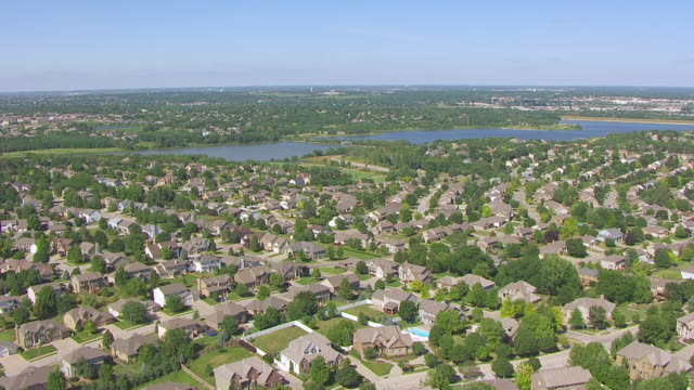 WS AERIAL View of Neighborhood on outskirts of Omaha / Omaha, Nebraska, United States