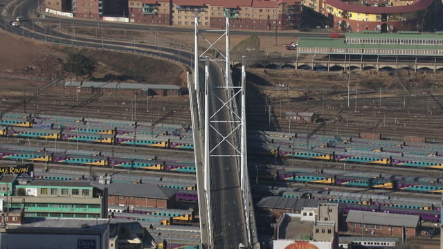 ms aerial view of nelson mandela bridge in city / johannesburg, gauteng, south africa - ponte stock videos & royalty-free footage