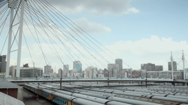 WS View of Nelson Mandela Bridge over railway yard / South Africa