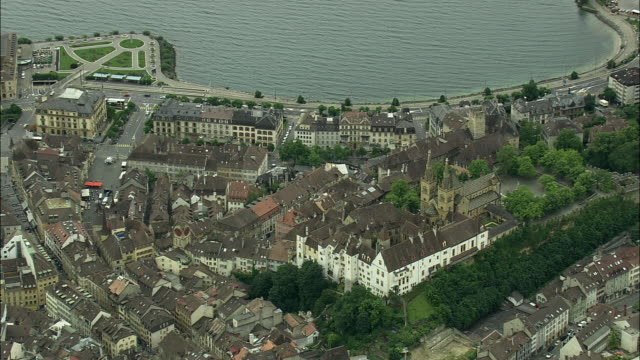 aerial view of neuchatel with collegiale church, vaud, switzerland - circa 13th century stock videos and b-roll footage