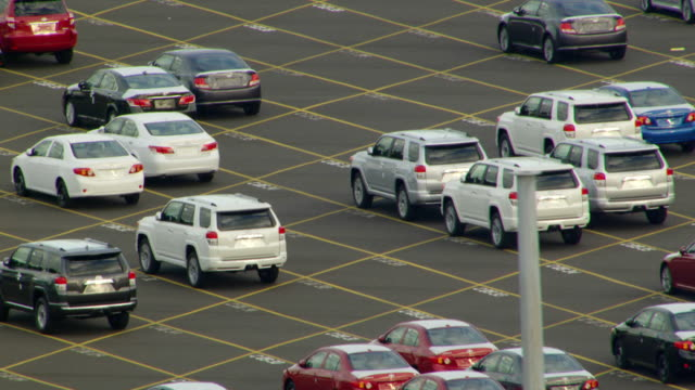 ms aerial view of new automobile imports in lot at port of portland / oregon, united states - portland oregon点の映像素材/bロール