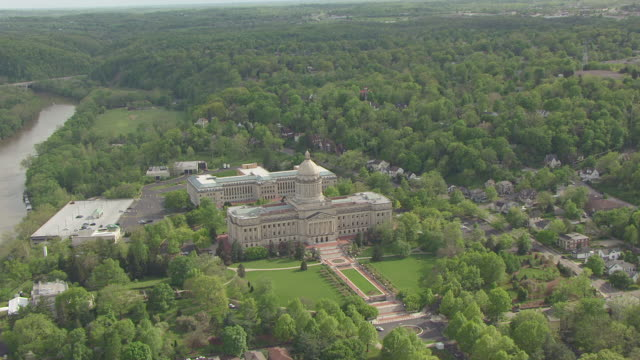 WS AERIAL View of new capitol building / Frankfort, Kentucky, United States