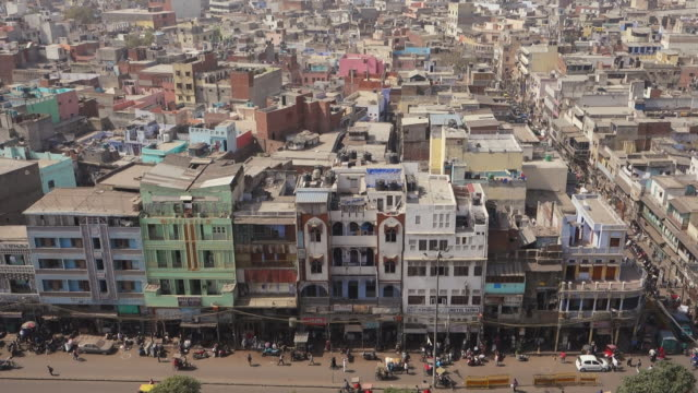 View of New Delhi and street life from above