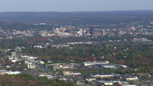 WS AERIAL ZI View of New Haven and harbor / Connecticut, United States