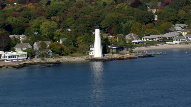ms aerial ts ds view of new london ledge lighthouse / connecticut, united states - new london county connecticut stock videos & royalty-free footage