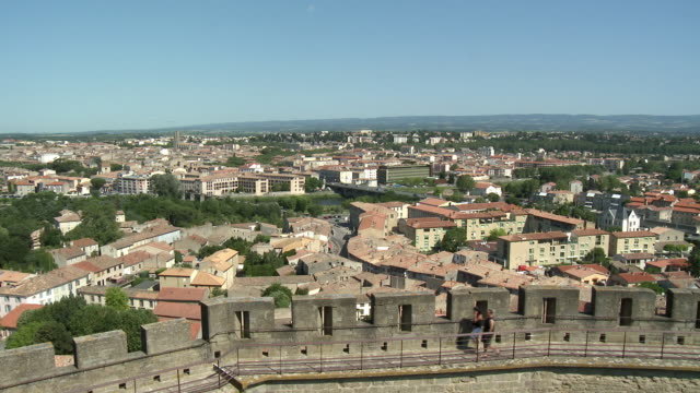t/l ws ha view of new town from fortified city / carcassonne, languedoc-roussillon, france - carcassonne stock videos & royalty-free footage