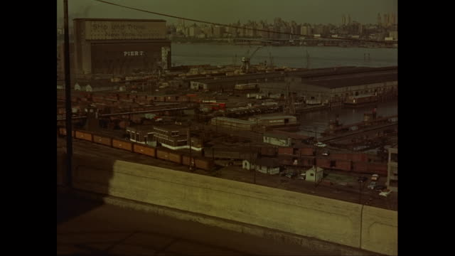 WS PAN View of New York City with New Jersey docks in forground / New Jersey, United States