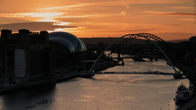 view of newcastle at sunset - newcastle upon tyne video stock e b–roll