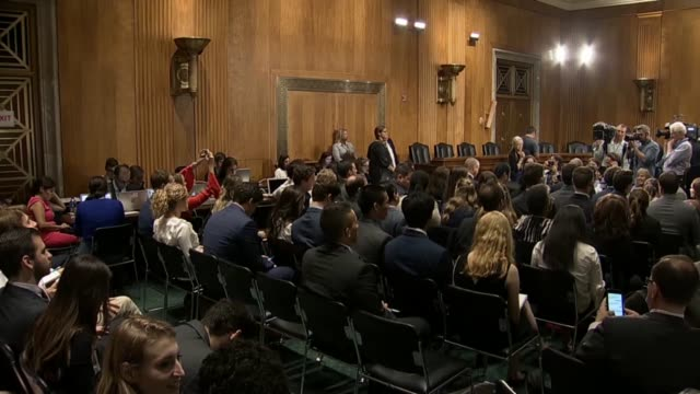 View of news media in the Senate Foreign Relations Committee room prior to the arrival of Secretary of State Pompeo audience members Senators...