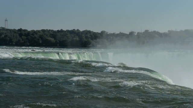 WS View of Niagara Falls New York and Canada Horseshoe Falls from above on Canadian side from Skylon Restaurant in Canada / Niagara Falls, New York, United States