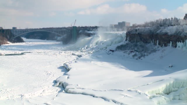 ws view of niagara gorge and frozen river on international border / niagara falls, ontario, canada - international border stock videos & royalty-free footage