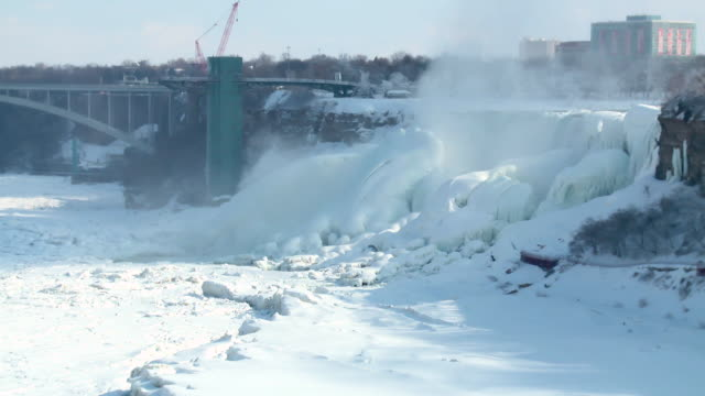 vídeos de stock, filmes e b-roll de ms pan view of niagara gorge and frozen river on international border / niagara falls, ontario, canada - niagara falls