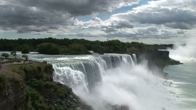 view of niagara waterfalls in new york united states - fluss niagara river stock-videos und b-roll-filmmaterial