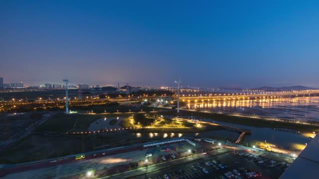WS T/L View of Night view of Gyeongin Ara Waterway Port / Incheon, South Korea