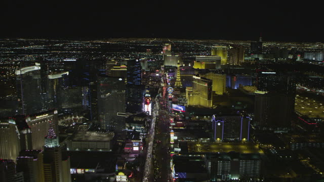 WS AERIAL View of Nightscape / Las Vegas, Nevada, United States