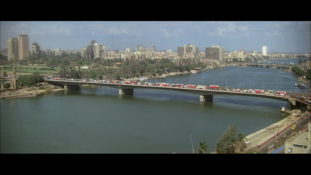 ws view of nile river bridge between geri rah island and cairo / cairo, egypt - 1980 stock videos & royalty-free footage