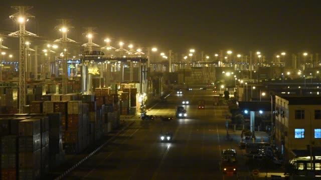 stockvideo's en b-roll-footage met view of ningbo port on may 18, ningbo, zhejiang province, china. - ningbo