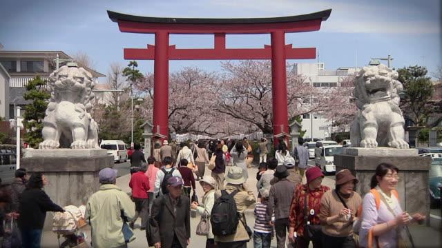 ws view of ni-no-torii and cherry blossom on danzakura pathway / kamakura, kanagawa, japan - japan stock videos & royalty-free footage