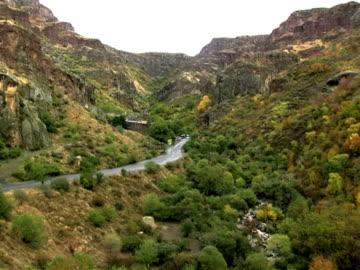 ms pan view of noravank monastery and gorge, armenia / noravank, armenia  - eastern european culture stock videos & royalty-free footage