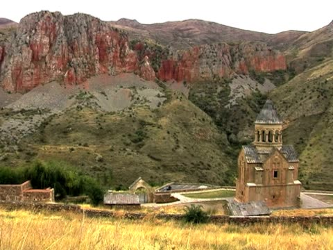 ws pan view of noravank monastery and gorge, armenia / noravank, armenia - eastern european culture stock videos & royalty-free footage