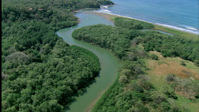 aerial view of nosara river mouth / guanacaste, costa rica - nosara stock videos and b-roll footage