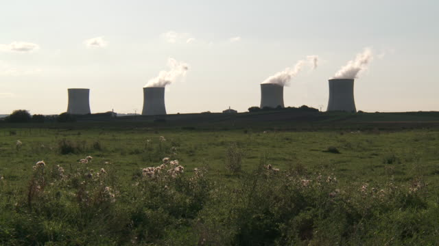 ws view of nuclear power plant / cattenom, lorraine, france - lorraine stock videos & royalty-free footage