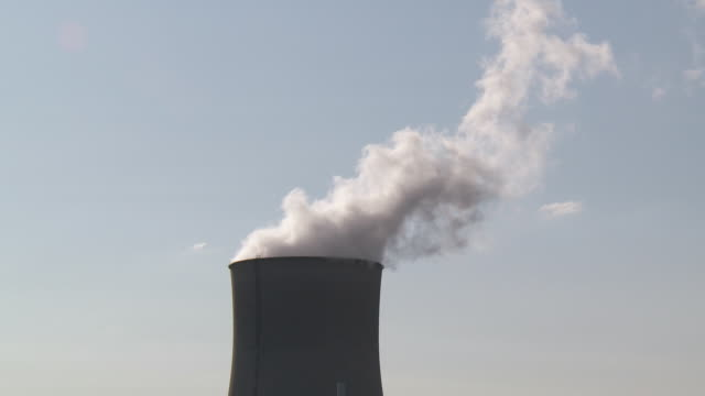 cu view of nuclear power plant / cattenom, lorraine, france - cooling tower stock videos & royalty-free footage