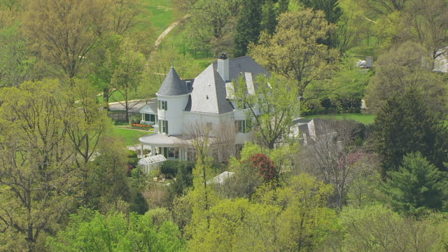 WS AERIAL POV View of Number One Observatory Circle with domestic garden / Washington DC, United States