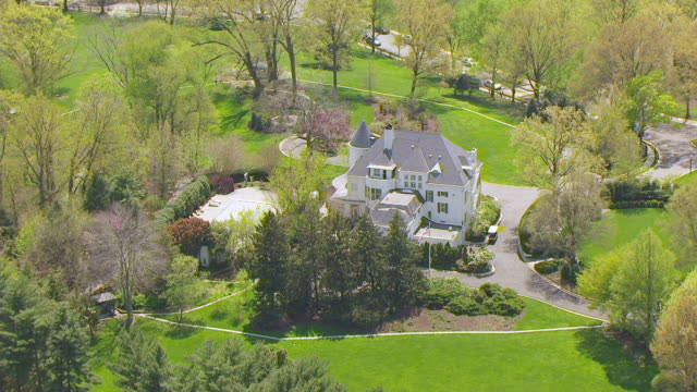 WS ZI AERIAL POV View of Number One Observatory Circle with domestic garden / Washington DC, United States