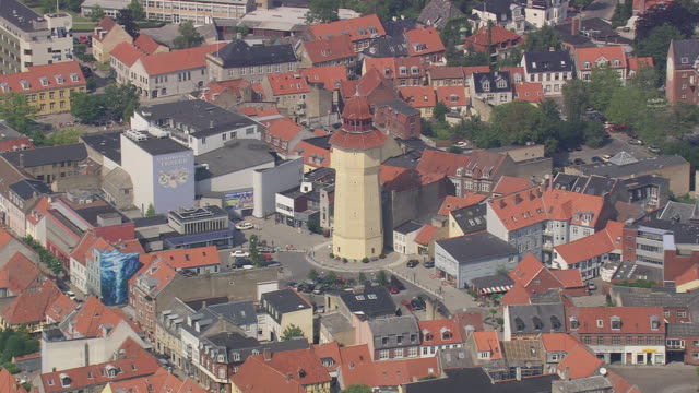 ws aerial view of nykobing / falster, denmark - heranzoomen stock-videos und b-roll-filmmaterial