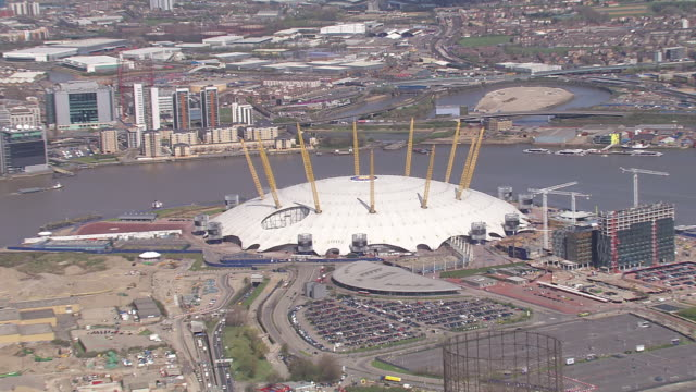 ws aerial zo view of o2 (millennium dome) / london, united kingdom  - dome stock videos & royalty-free footage